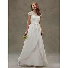 A-line Wedding Dress See-Through Floor-length Jewel Chiffon Lace with Button Lace – AUD $ 265.82