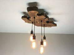 Live-bord d'Olive lustre avec ampoules Edison. Luminaire industriel / contemporain / rustique