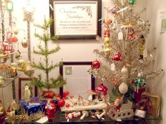 Love these little victorian trees with mushroom ornaments.  The Christmas Shop @ Antique Center I