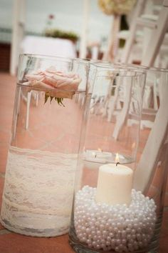lace and pearl wedding aisle decor / http://www.deerpearlflowers.com/vintage-pearl-wedding-ideas/