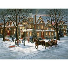 """Victorian Christmas"" ~ a 1000 piece glow-in-the-dark jigsaw puzzle from Bits and Pieces. Artist: H. Hargrove"