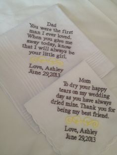 Set of Two Personalized WEDDING HANKIES Mother & Father of the Bride Gifts Hankerchief - Hankies. $35.00, via Etsy.