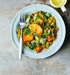 Spinach, sweet potato and lentil dhal. Full of iron