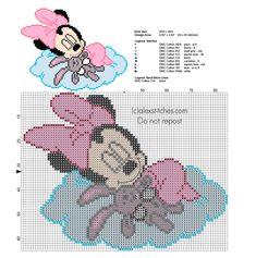Cross stitch pattern baby Minnie sleeping with teddy bear