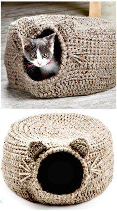 20 kostenlose häkeln Katze Bett & Haus Muster - Heimwerken & Basteln - Places Like Heaven 20 Patrones gratuitos de cama y casa de gato de ganchillo: bricolaje y manualidades, Chat Crochet, Free Crochet, Diy Crochet Cat Bed, Diy Cat Bed, Diy Bed, Crochet Crafts, Crochet Yarn, Diy Crafts, Crochet House