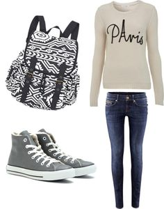"""""""Cosy school outfit"""" by fashion-hipster ❤ liked on Polyvore"""