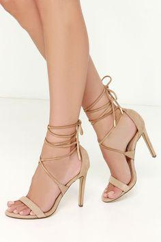 Steve Madden Presidnt Sand Suede Leg Wrap Heels at Lulus.com!