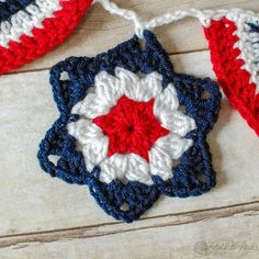 crochet granny star for bunting free pattern