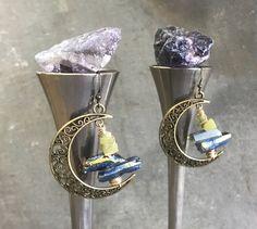 Raw Titanium Druzy & Peridot Asymmetric Bronze Moon Hoop Earrings by Adrienne Adelle - BohoChic Earrings - Bohemian Style - Healing Crystals adrienneadelle.com