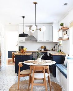 I was just browsing through the hashtag and stumbled upon very pretty kitchen. Tag your pretty photos, folks - especially if they are blue, white, wood and brass :) Kitchen Nook, Farmhouse Kitchen Decor, Home Decor Kitchen, New Kitchen, Home Kitchens, Kitchen Design, Home Renovation, Home Remodeling, Scandinavian Kitchen