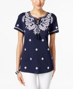 ed68d4bcb60 Charter Club Embroidered Short-Sleeve Peasant Top
