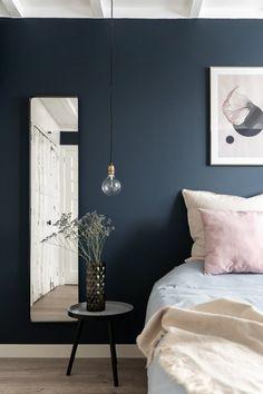 Dark Blue Bedrooms, Blue Bedroom Walls, Bedroom Colors, Farmhouse Bedroom Decor, Home Decor Bedroom, Modern Bedroom, Bedroom Signs, Bedroom Ideas, Home Decoracion