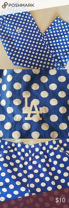 L.A. Dodgers Pajama Pants Size Large Super cute polka dot Los Angeles Dodger Pajama pants size large with elastic waistband and 3 snap closure.  A friend of mine (who is not a sports fan) bought these for me bc she thought they were so cute.   One large problem is I'm  a huge Chicago Cubs fan and I can't keep these lol!  They have been worn so as not to hurt my friends feelings but It is time for them to go to a true Dodgers fan! Offers encouraged! Intimates & Sleepwear Pajamas