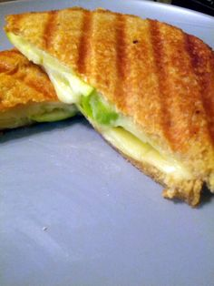 Provolone, green apple and honey whole wheat beat. Grilled on a George Forman Grill.