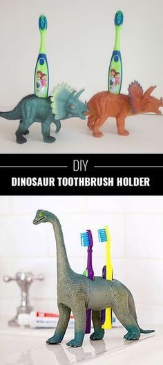 76 Crafts To Make and Sell - Easy DIY Ideas for Cheap Things To Sell on Etsy, Online and for Craft Fairs. Make Money with These Homemade Crafts for Teens, Kids, Christmas, Summer, Mother's Day Gifts. | Dinosaur Toothbrush Holders | diyjoy.com/crafts-to-make-and-sell #craftsforteenstomakeandsell #craftstosellonetsy #easycraftstosell