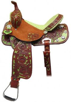 Double J Pro Barrel Racer Saddle with chestnut leather, sunflower tooling & lime green ostrich accents.