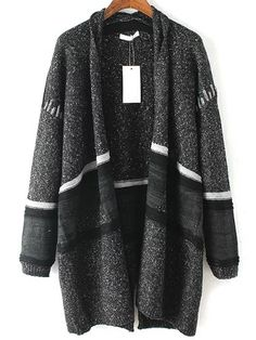 Grey Long Sleeve Pockets Tribal Cardigan