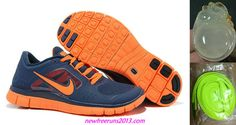 New Mens Nike Free Runs 3 Light Midnight Total Orange Shoes
