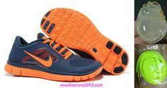 New Mens Nike Free Runs 3 Light Midnight Total Orange Shoes