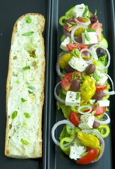 GREEK SALAD SANDWICH W/ TZATIKI SAUCE--  SAUCE-5.3oz container of Greek yoghurt-1/2 tsp. minced garlic   1 tsp. lemon rind-1/4 c. cucumber chopped-1 tsp. dill, chopped   1/2 tsp. olive oil-salt & pepper to taste- Place all ingredients in a food processor & pulse until smooth.