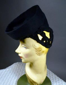 """GATHERED """"BOWL"""" CROWN TILT HAT WITH SNOOD - A CLASSIC 1940's VINTAGE HAT - ROYAL HATS of CHARACTER - Available for sale at rpvintage.com"""