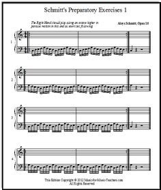 Aloys Schmitt - adaptation of his piano exercises for beginning students. Using these first 12 exercises of the Schmitt book works very nicely if you have a motivation chart going -- it gives your students easy Bass Guitar Lessons, Piano Lessons, Music Lessons, Piano Exercises, Finger Exercises, Piano Scales, Music Education, Music Teachers, Teacher Worksheets