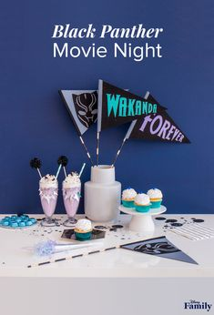 Wakanda Forever! Black Panther is such an iconic film for parents and kids alike. So, we put together a fun movie night, incorporating the vibrant colors sprinkled throughout the film. Creating a themed recipe and craft makes any family viewing party extra special. We recommend some felt pennants and delicious milkshakes to get the party started. All you need to add is popcorn! Click through to see how to throw this DIY Black Panther movie night. Disney Diy, Disney Crafts, Disney Food, Color Sprinkle, Dinner And A Movie, Star Wars Love, Black Panther Party, Family Fun Night, Party Rock