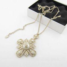 Chanel jewelry vintage Byzantine pearl cross necklace