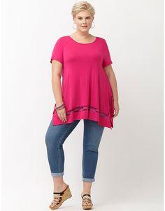 Lace inset tunic by Lane Bryant Plus Size Women's Tops, Plus Size Shirts, Plus Size Blouses, Plus Size Dresses, Plus Size Outfits, Trendy Plus Size Clothing, Plus Size Fashion, Lace Inset, Lane Bryant