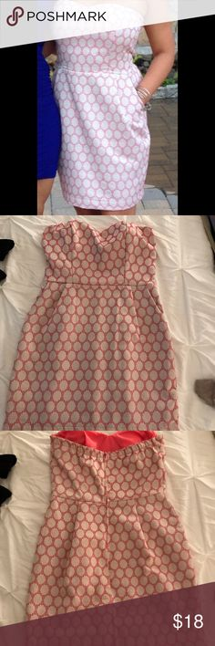 Strapless dress from Francesca's Pink/white strapless dress size L purchased from Francesca's Dresses Strapless