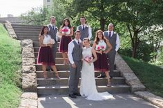 Staggering the wedding party - maroon tulle skirts for the bridesmaids... so obsessed!