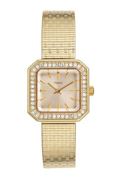 Timex® 'Starlight' Crystal Bezel Square Mesh Strap Watch, 25mm available at #Nordstrom