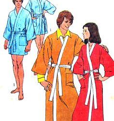 Vintage Sewing Pattern Mens Robe Kimono 2 Lengths Size Large Jiffy Simplicity 9507