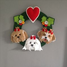 Guirlanda wreath dog cachorro shitzu feltro felt