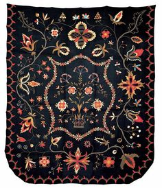 Crewel Bedcover - Artist unidentified  New England or New York  1815–1825  Wool with wool embroidery  100 x 84 in.  American Folk Art Museum, gift of Ralph Esmerian, 1995.32.1