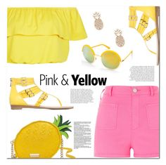 """""""Pink & Yellow"""" by christinacastro830 ❤ liked on Polyvore featuring River Island, New Look, Kate Spade, Beauty & The Beach and Sole Society"""