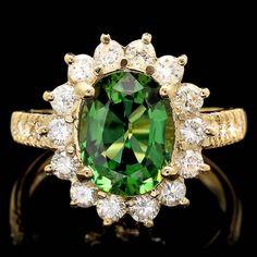 14k Gold 2.35ct Tourmaline 1.10ct Diamond Ring : Lot 121C