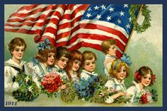 Quilt Block of 1911 postcard of Children and the American Flag by Frances Brundage printed on cotton. Ready to sew.  Single 4x6 quilt block $4.95.