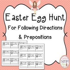 Need some fun FREE ideas for spring and/or Easter?  Use these Easter themed tags to create a scavenger hunt for your students.  Address following directions, prepositions, recalling information and problem solving with this fun activity!Need more language materials?