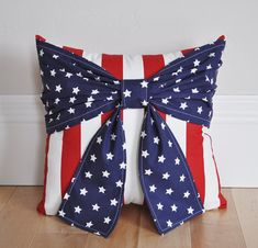 Decorative Throw Pillow Patriotic Stars Bow on Red and White Striped Pillow 14x14 -Blue Pillow-14 x 14 Fourth of July Pillow ALL ITEMS ARE MADE TO ORDER PLEASE SEE SHOP FOR CURRENT CREATION TIME!!! Be