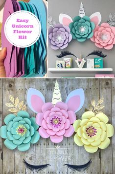Unicorn Birthday Party Unicorn Birthday Party Wish Upon A Flower - Summer Custom Paper Flower Wall, Paper Flower Backdrop, Flower Wall Decor, Paper Flowers, Giant Flowers, Unicorn Baby Shower Decorations, Birthday Party Decorations, Diy Unicorn Birthday Party, Paper Flower Arrangements