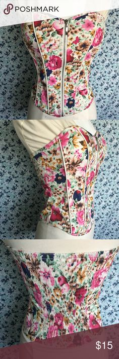 Floral Bustier Top Zipper works great. Never worn. No flaws.  Tags: corset, bustier  MO TRADES. I will consider all reasonable offers. Tops