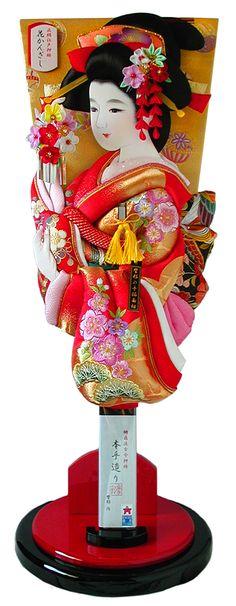 Hana Kanzashi hagoita. Originally used in a game called Hanetsuki. Height 60cm = 24 inch. Fabric: Silk Shoken Kinran (embroidery), Japan.
