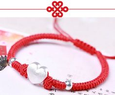 new and high quality Length adjustable (about Material: Wax Wire 925 sterling silver beads 925 sterling silver heart Color: Red, Black Package include : Bcelet in OPP Bag Suitable for men boys women ladies girls Great gift for friends; Bracelet Knots, Macrame Bracelets, Handmade Bracelets, Chinese Red Envelope, Knots Guide, Red Rope, Gifts For Friends, Silver Beads, Silver Ring