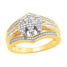 Gold over Silver 1/3cttw 3-Stone Marquise Diamond Eternal Treasures Bridal Ring