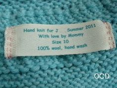 ocd: obsessive crafting disorder: Sweater label tutorial