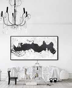 Horizontal Minimalist Art hand painted black and white art minimal painting on canvas by CZ Art Design Perfect choice for modern and contemporary home. Minimalist Art, White Art, Minimalism, Original Paintings, Canvas Art, Tapestry, Hand Painted, House Styles, Artist