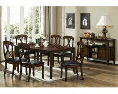 Homelegance D630-72-SET Kinston Dining Set by Homelegance. $820.00. Kinston Dining Set by Homelegance D630-72-SET. Skillfully burnished and hand distressed oak finish with brown undertone radiate to highlight each piece of the Kinston Dining Collection by Homelegance. Kinston Collection features beautiful table top veneer pattern, formed by a combination of oak, walnut, and walnut burl veneers. Modified Napoleon style chair back accent to the two tables offered. P...