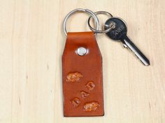 Dad Keychain  Leather Brown Bear Key Fob  by TinasLeatherCrafts. Repin To Remember.
