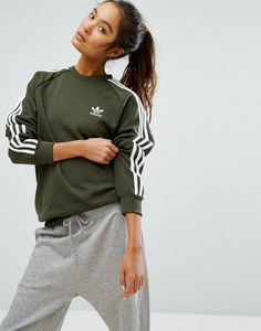 adidas Originals Khaki Three Stripe Boyfriend Sweatshirt